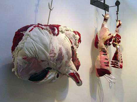 Dapper Deli Meat Sculptures - Tamara Kostianovsky Fashions Butchered Products Using Clothing
