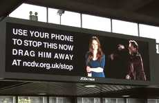 Phone-Enabled Violence Campaigns - Interactive Billboard by NCDV Allows Texters to 'Drag Him Away'