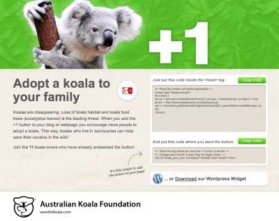 The Australian Koala Foundation Uses a +1 Button for its Cause