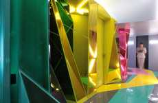 Luminous Geometric Salons - ROW Studio Turns a Mundane Room into Popping Shapes and Hues