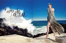 Seaside Metallic Photoshoots - The Vogue Portugal 'Liga de Metal' Editorial Stars Katrin Thormann