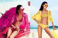 Chromatic Swimwear Captures - The Vogue China 'Colour the Beach' Editorial Stars a Sultry Tian Yi