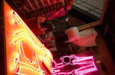 Electrifying Neon Cars - The Blair Thurman Supermodels Installation Lights up the Room