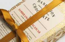 Ribbon-Wrapped Chocolate Branding - The Dandelion Chocolate Packaging Unwraps Like a Present