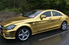 Gold-Plated Automobiles - The Mercedes Gold-Wrapped Cars Make an Appearance at Cannes 2012