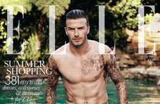 Dripping Jean-Clad Photoshoots - The David Beckham Elle UK Cover is Sizzling Hot