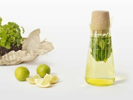 Herb-Infusing Pitchers - The Postfossil 'Stir It' Carafe by Anna Blattert Creates Refreshing Drinks