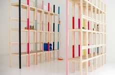 Stacked Chair Storage - The Latten Shelving Unit Employs One Type of Piece for Another Purpose