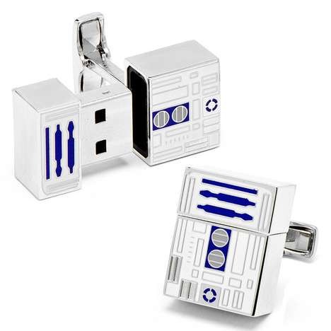 The R2-D2 Flashdrive Cufflinks sre Appropriate for Work or a Gala