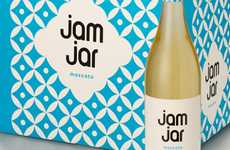 Vintage Patterened Vino - Jam Jar Wine Packaging Assumes a Nostalgic and Congenial Image