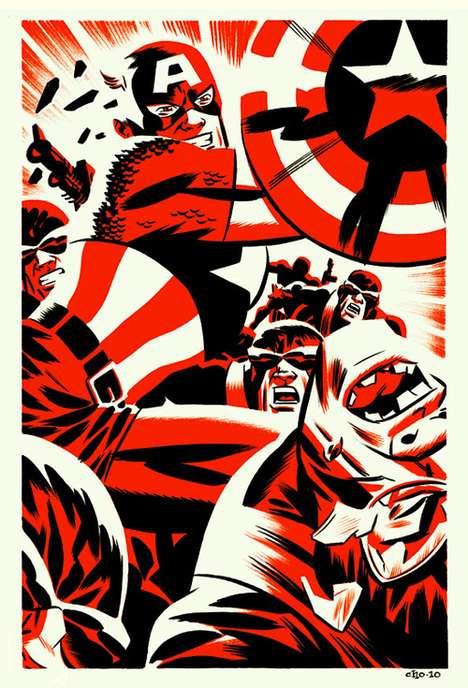 Vintage Two-Toned Superhero Artwork