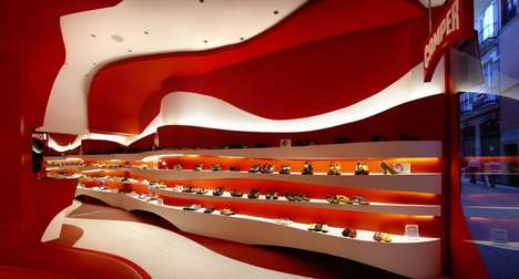 Curving Crimson Shoe Shops