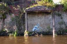 Canal Creeping Caricatures - Waterways by Phlegm is a Series of Creepy Street Art