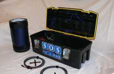 Portable Eco-Friendly Power Sources - SOS in a Box Provides On-The-Go Energy Charged by the Sun