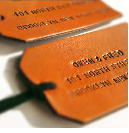 Hand-Stamped Leather Bag Tags