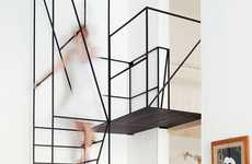 Wiry Minimal Stairs - The House C Staircase Extremely Modernizes an Original 1900 Mansion