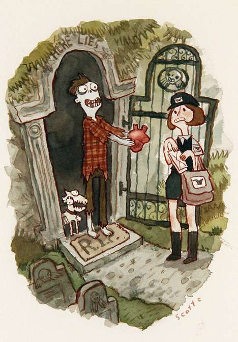 Scott Campbell's 'Zombie in Love' Illustrations are Oddly Endearing