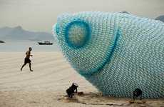 Bottle Sea Creature Art - The Fish Sculptures on Botafogo Beach Promotes Sustainability