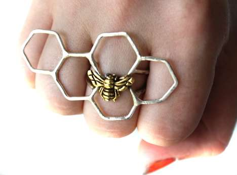 Silver Honeycomb Rings