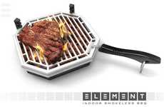 Indoor Grilling Machines - The Element Smokless BBQ Won't Set off the Fire Alarm
