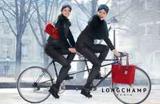 Tandem Bike Fashion Ads - The Longchamp Fall Campaign Stars Coco Rocha and Emily DiDonato