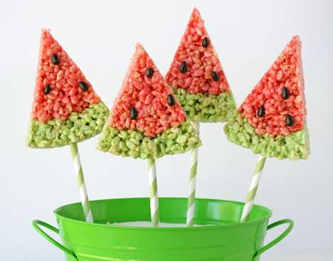 Faux Melon Marshmallow Sweets - These Watermelon Krispie Treats Were Made for the Summer