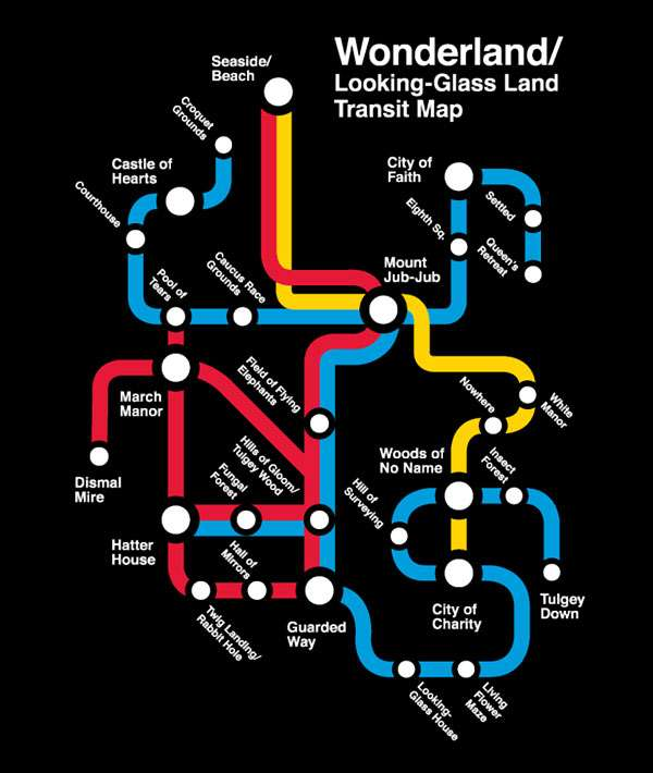 Nyc Subway Map Inspired Design.Rabbit Hole Navigation Gear Alice In Wonderland Subway Map