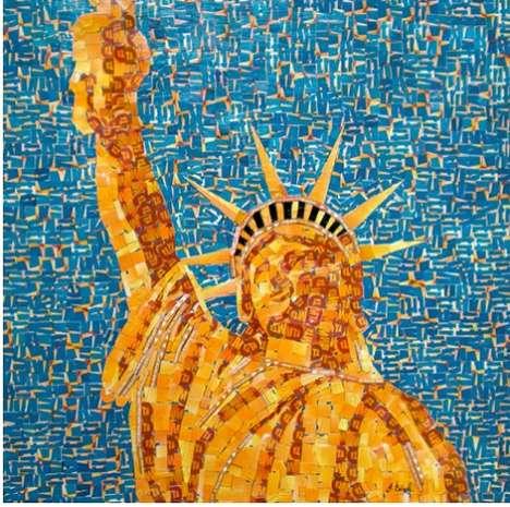 Recycled Transit Card Mosaics