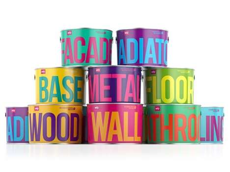 Punchy Paint Packaging - The Waldo Trommler Paint Branding Employs Bold Typography and Colors