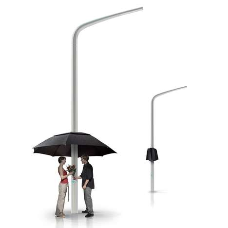 Simple Streetlight Umbrellas - The Lamprella is Romantic and Futuristic