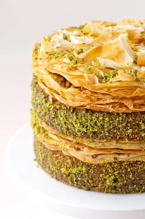 Super-Sized Phyllo Desserts - The Baklava Pistachio Cake is a Unique Way to Serve the Classic Sweet