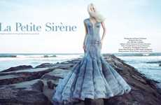 Platinum Blonde Mermaid Editorials - The Haute Living 'Le Petite Sirene' Stars Elena Potapova