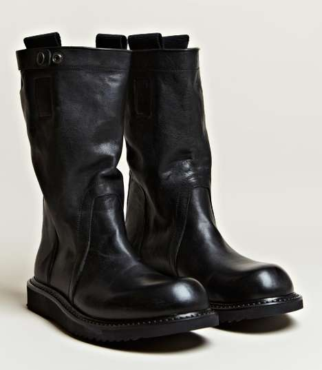 Ruggedly Elegant Leather Kicks - The Rick Owens Men's Pull On Biker Boots are Bold and Chic