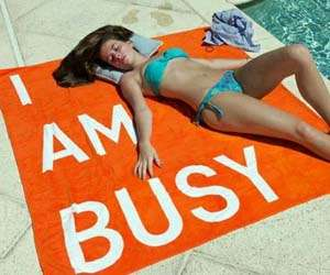 The 'I Am Busy' Towel by Rirkrit Tiravanija is Blunt