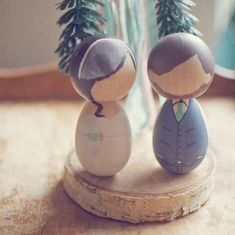Charismatic Cake Toppers - The Wood and Grain Custom Wooden Dolls Are Perfect for Weddings