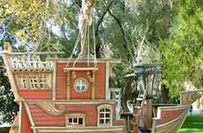 Pirate Sailboat Toy Houses - The Red Beards Revenge Pirate Ship Playhouse by PoshTots is Life-Size