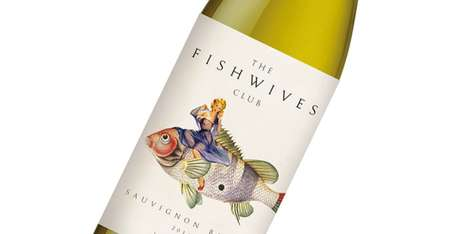 Aquatic Pin-Up Vino Branding - The Fishwives Club Wine Labels are Seductively Strange