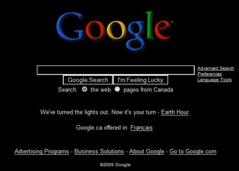 Google Goes Black For Earth Hour