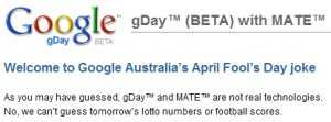 New Google Engine Predicts Future Searches - gDay MATE (HOAX)