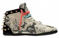 Snakeskin Studded Sneakers - The Betwixt Python Print Kicks are Hip