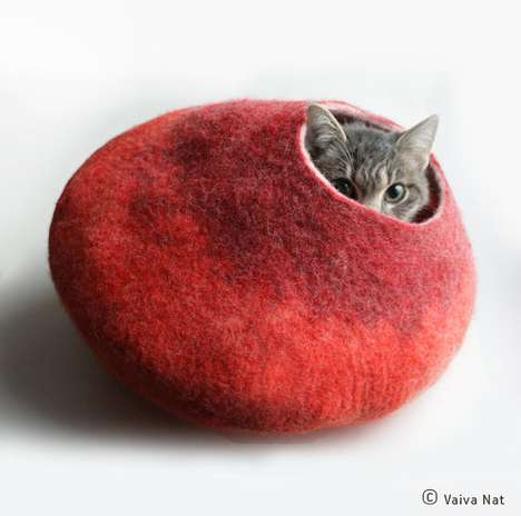 Cat Nap Cocoons - The Etsy Store Vaivanat Crafts the Perfect Fuzzy Vessel for Drowsy Felines