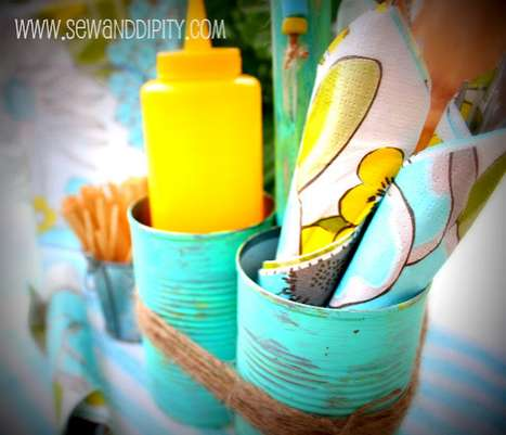 Repurposed Tin Cans - The Soup Can Caddy Carries Your Summer Essentials