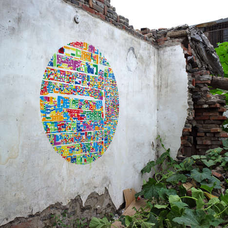 Colorful Circular Stencil Collages
