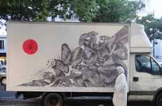Mobile Graffiti Canvases - Artist Never2501 Paints Zebra-Like Wasps Onto the Back of a Truck