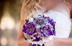 Brooch Wedding Bouquets - The 'Blue Petyl' Site Offers a Modern Chic Alternative to Flower Garlands