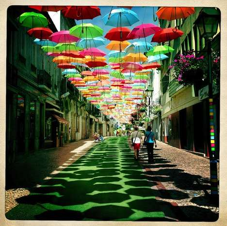 Portugal's Floating Umbrella Installation is Magical