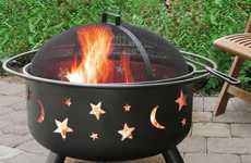 Planetary Patterned Bonfires - The Stars & Moon Big Sky Fire Pit Brings the Sky Within Reach
