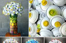 Trash Object Bouquets - The Discarded Spray Can Flower Bouquets are a Girl's Best Friend