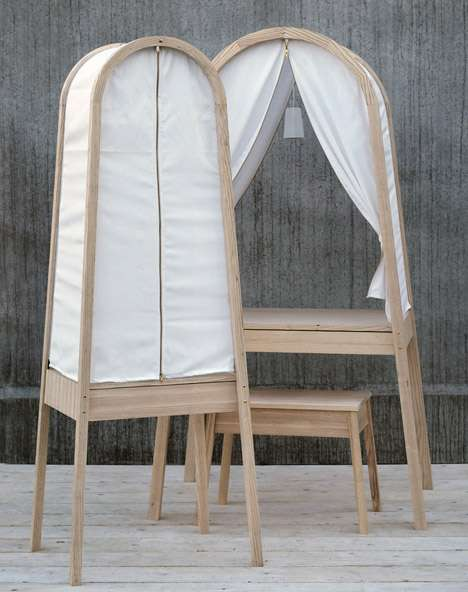 Curtain-Enclosed Desks