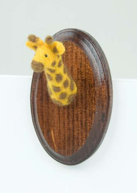 The Miniature Needle-Felted Giraffe Mounted Head by Alisha Harms is Cute